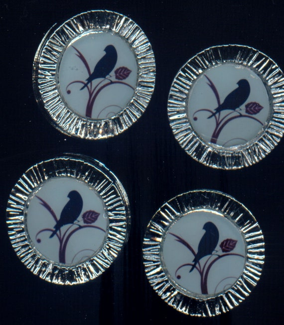 Altered Button-Washable-Silver Metal Bird Image on Blue-Set of Four