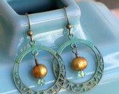 Breakfast at Tiffany's - Patinaed Brass Fillagree Hoops with Pearls and Swarovski Crystals...FREE SHIPPING