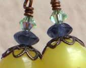 Spring Clearance....Mellow Yellow - Lucite, Crystal and Glass Beaded Earrings....8.00