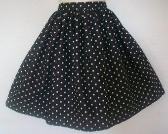Retro Black Polka Dot Full Skirt / Womens Gathered Skirt