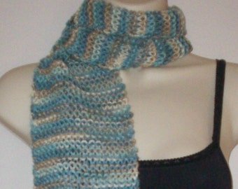 Blue and Beige Striped Scarf, Hand Knit Scarf, Womens Scarf, Winter Fashion, Winter Accessories, Eclectasie