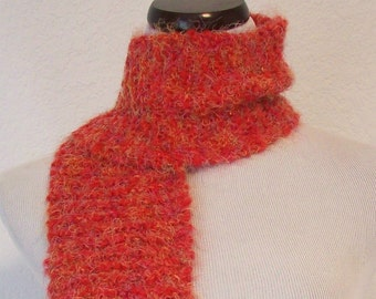 Soft Red and Multi-Colored Knit Scarf