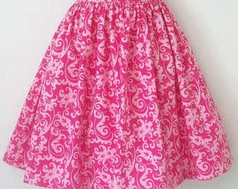 "Pink Damask Skirt, Full Gathered Womens Retro Skirt, Waist 28 1/2"",  Handmade, Eclectasie"