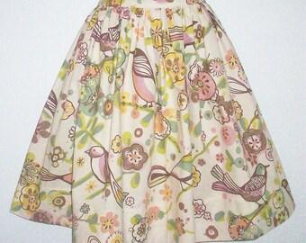 """Bird Motif Skirt, Floral, Full Gathered Skirt, Waist 28"""", Eclectasie"""