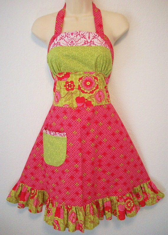 Womens Ruffled Apron / Retro Apron / Green & Pink Floral