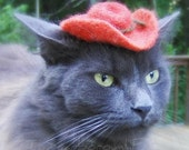 Cowboy Cat Hat -  Wool Felted - Chestnut Brown