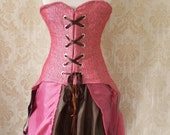 Steampunk Raspberry Tweed and Chocolate Corset-For Natural Waist 28-29 Inch