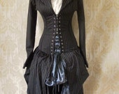 LAST ONE Pinstripe steel boned bustle corset coat, valkyrie lace front corset-to fit 26-28 inch natural waist