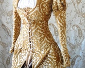 Sale-Gold damask medallion skirted corset only-for 26-28 inch waist-ready to ship