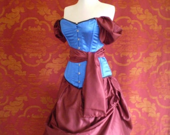 Snow White Bustle Red Blue Corset Costume Outfit-Whole Corset Outfit-MADE FOR BUYER
