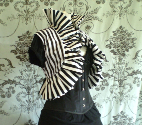 "Circus stripe oversized ruffle jacket-size large to fit up to 21"" shoulder width"