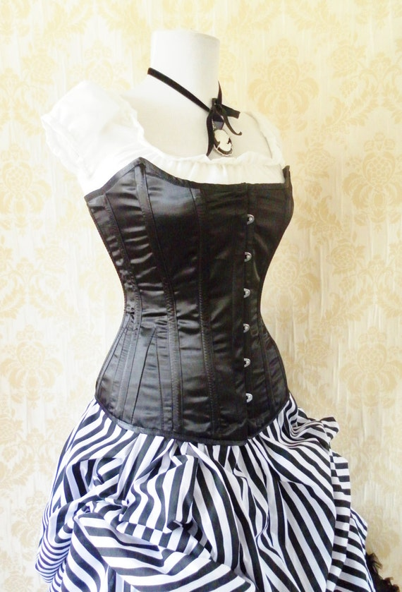 custom made steel boned corset, Victorian corset, overbust style-MADE TO ORDER-Vivienne Satin Corset-Made To Your Size