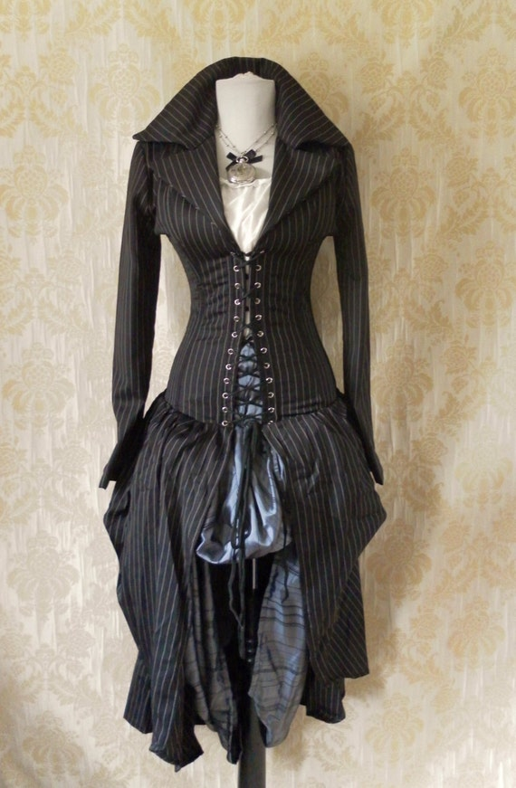 Pinstripe steel boned bustle corset coat, valkyrie lace front corset-to fit a 36-38 inch natural waist