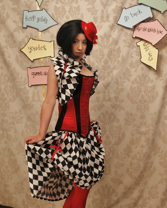 Queen of Hearts Harlequin Bustle Skirt-One Size Fits All