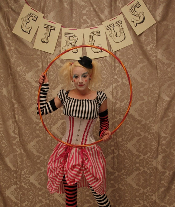 Circus Clown Corset Costume Oufit-Whole Corset Costume Outfit-MADE FOR BUYER
