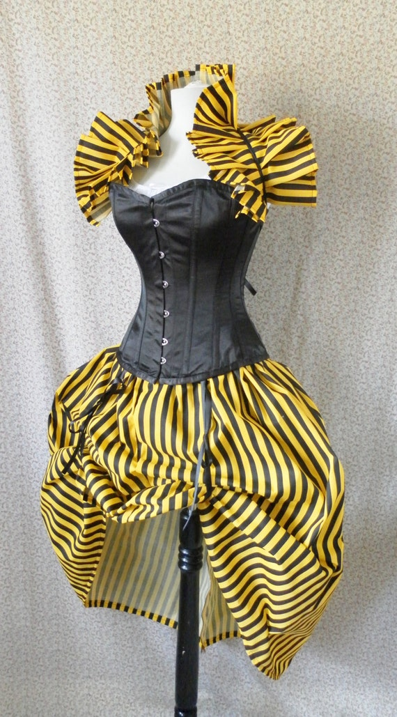 Black and Yellow Circus Bustle Skirt-One Size Fits All