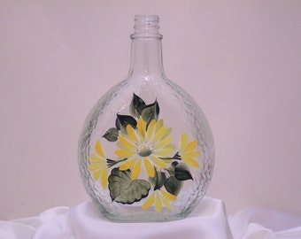Hand Painted Glass Decorative Bottle with Yellow Daisies