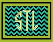 Custom personalized note cards monogram stationery chevron notecards Teal and lime chevron note cards with monogram