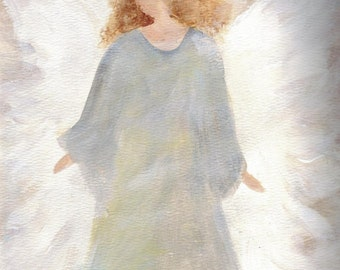 Angel Notecard Angels original Greeting cards, blank notecards, hand painted notecards, fine art painting,Blue angel cards