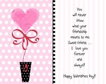 Valentine note cards, custom valentine notes, Valentine cards, Friend Valentine card