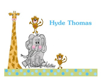 Children notecards, custom personalized notecards, Animal note card, personalized baby notes, Baby shower