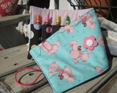 STORE CLOSING - 1/2 OFF Clearance - Crayon Roll - Pink Poodle
