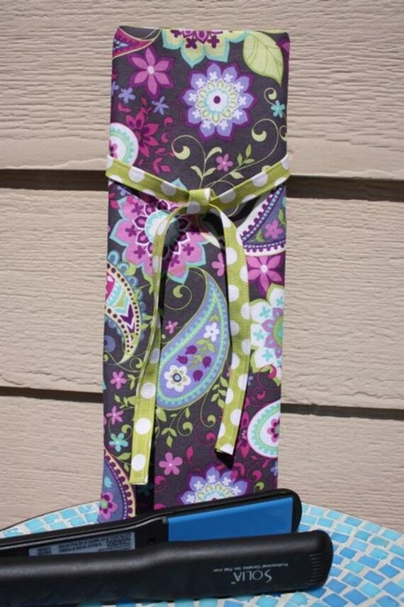 Insulated Curling Iron/Flat Iron Travel Bag - Paisley Spree Purple