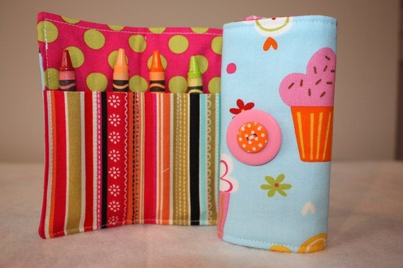 New - Crayon Roll- CupCake - Crayon Roll Up - Organizer - Crayon Cozy - Stocking Stuffer - Christmas Gift Girl