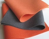 100% Wool Felt Fabric Sheets Squares Set   Coral and Grey Color Story