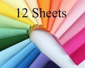 Wool Felt Fabric, Choose TWELVE Sheets, Note choice of colors upon checkout, 1mm thick felt, Felt Assortment, 100% Wool, Felting, Applique