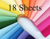 Wool Felt, CHOOSE EIGHTEEN Sheets, Choose from two sizes,  Felt Assortment, Felt Flower Supply