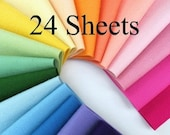 Wool Felt -   CHOOSE TWENTY FOUR Sheets -  8 x 12 - 100% Wool