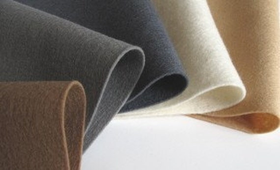 Pure  Wool Felt,  Five Piece Group, Camel and Grey