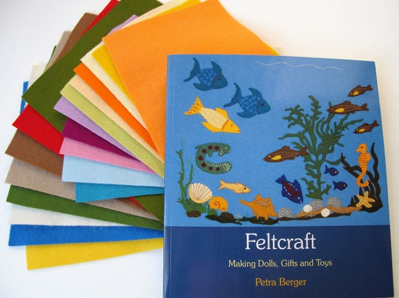 Wool Felt and Craft Book Set, Feltcraft,  Wool Felt Sheets