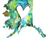 Alaska Love  Print | State Wall Art | Watercolor Painting | Katie Daisy