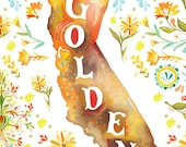 Going to California art print | State Wall Art | Golden State | Map Art |