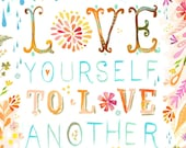 Love Yourself | Paper Print | Inspirational Wall Art | Hand Lettering | Floral | Katie Daisy