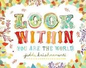 Look Within art print | Krishnamurti Quote | Inspirational Wall Art | Hand Lettering | watercolor print