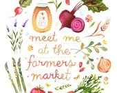 Farmers Market Print | Watercolor Quote | Kitchen Wall Art | Lettering | Katie Daisy | 8x10 | 11x14