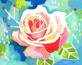 Rose | Paper Print | Horizontal Print | Watercolor Botanical Study | Floral Painting | Katie Daisy