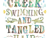 Creek Swimming Watercolor Quote | Art Print | Nature Wall Art | Hand Lettering | Katie Daisy