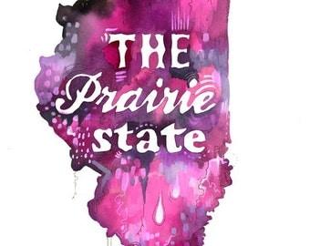 Prairie State art print | State Wall Art | Watercolor painting | Map Art