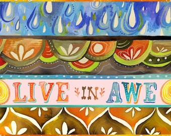 Live in Awe Print | Inspirational Wall Art | Watercolor Quote | Lettering | Katie Daisy | 8x10 | 11x14