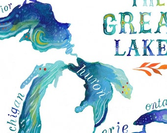 The Great Lakes paper print | Watercolor Wall Art | Hand Lettering | Watercolor Map | Katie Daisy