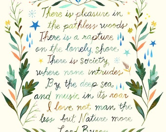 Pathless Woods Art Print  | Watercolor Quote | Inspirational Print | Lettering | Outdoorsy | Katie Daisy | Wall art | 8x10 |