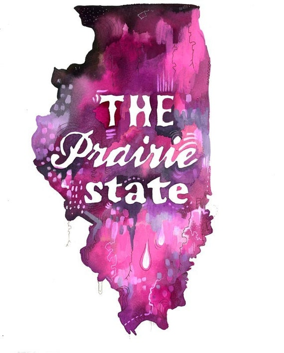 Prairie State art print | State Wall Art | Watercolor painting | Map Art