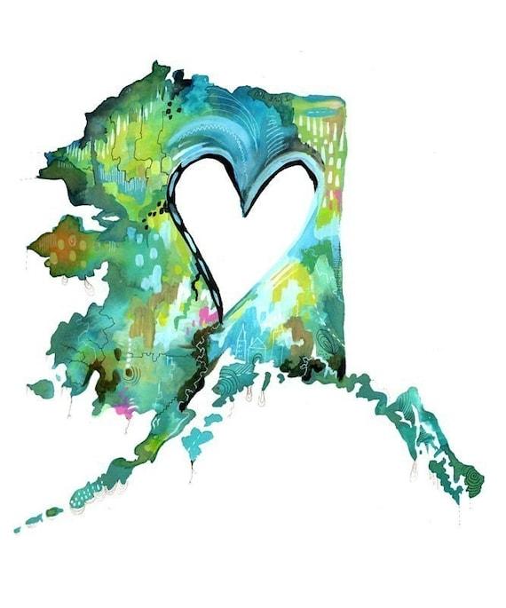 Alaska Love  Print | State Wall Art | Watercolor Painting | Katie Daisy