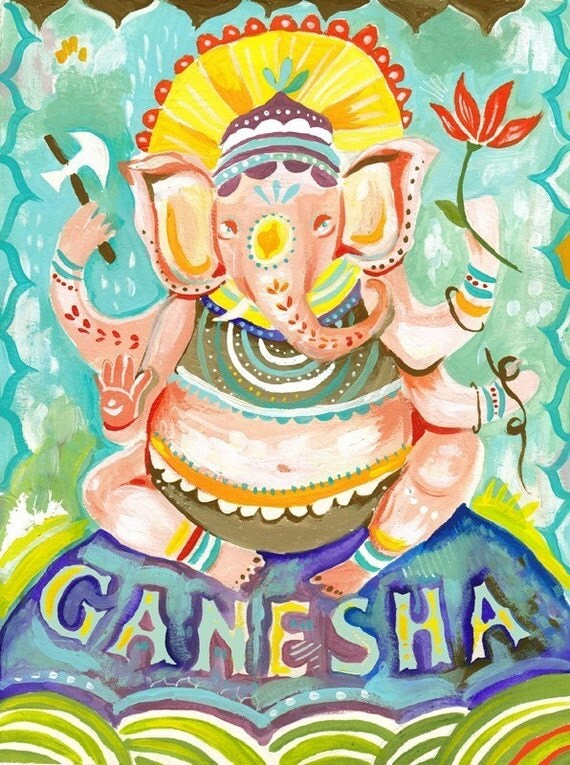 Ganesha art print | Hindu Wall Art | Elephant Deity | Watercolor Painting
