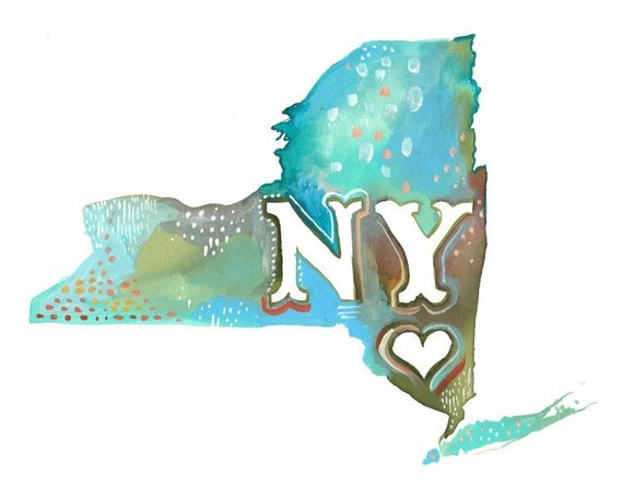 New York state print | Watercolor Wall Art | Watercolor Map | Katie Daisy