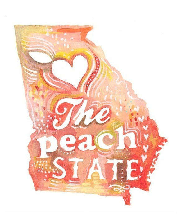 Peach State art print | State Wall Art | Watercolor painting | Map Art